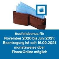 Ausfallbonus für November 2020 bis Juni 2021